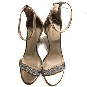 Charlotte Russe Glitter dress sandals gold size 8